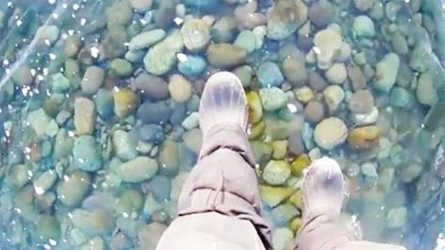 Man films fascinating walk across world's deepest frozen lake