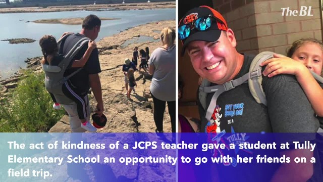 Teacher carries 10-year-old student so she can enjoy field trip without her wheelchair