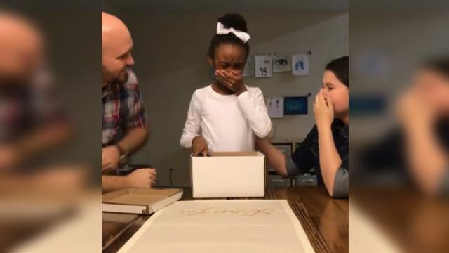 The moment this foster child realizes she's getting adopted has millions bawling