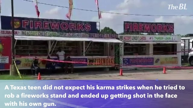 Boy tries to rob fireworks stand, gets shot in face with own gun