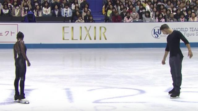 Two skaters stand in formation, 'Sound of Silence' plays & sends