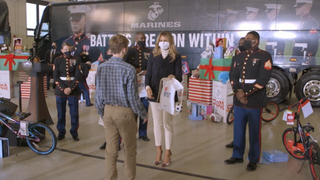 First Lady Melania Trump participates in a 2020 toys for tots event