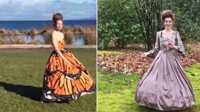 Woman crafts beautiful gown, only to make others gasp with transformation when she spins