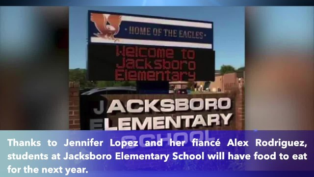 Jennifer Lopez and Alex Rodriguez donate a year's worth of food to Tennessee elementary students