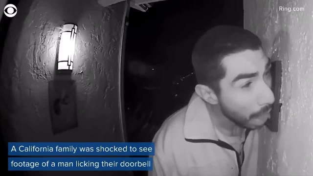 Man caught on camera licking doorbell