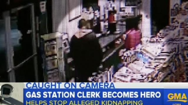 "Gas station worker notices man with shaking woman, tells her to ""stand behind me"""