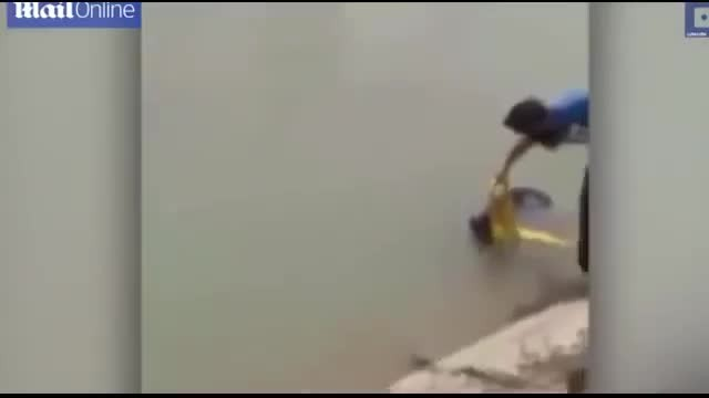 A Sikh man takes off his turban and uses it to rescue drowning dog