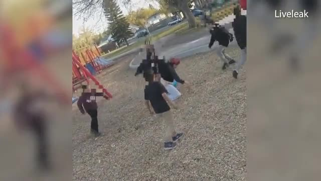 Shocking moment youngsters attack woman in Saskatoon