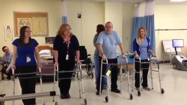Four people line up with walkers to perform hit song, but man of the group steals show with routine