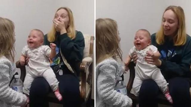 Baby hears for the first time and breaks out into fit of laughter