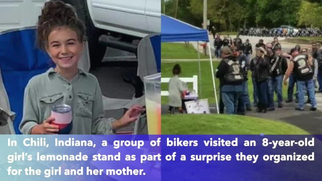 Bikers surprise Indiana girl's running lemonade stand after mother helps during crash