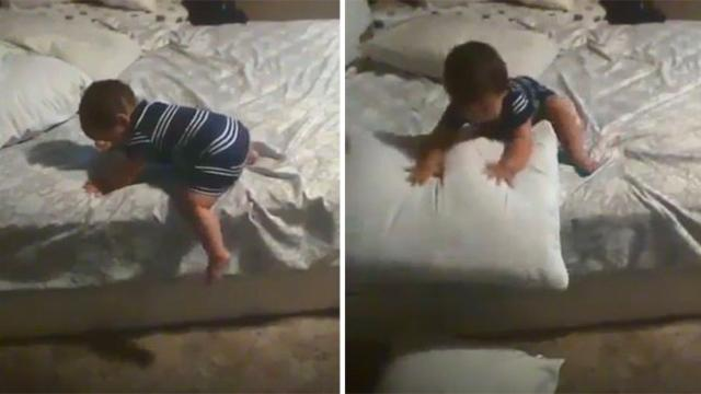 Baby attempts to come down from bed—his method will make you feel impressed