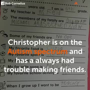 Autistic son's heart-wrenching answer to homework question has dad in tears