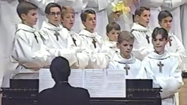 These choir boys took the stage. The crowd couldn't help but laugh when he hits the first note