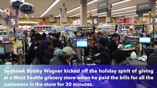 Seahawk Bobby Wagner pays all customer at West Seattle grocery store