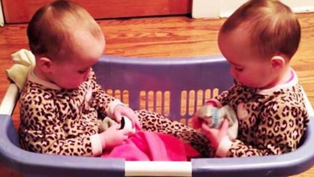 Mom walks in on twins in the laundry basket, can't stop laughing at their adorable conversation