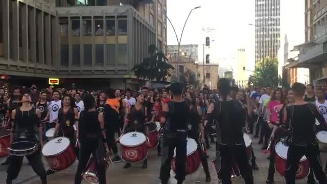 Colombian drum group has massive crowd going wild when they start epic performance