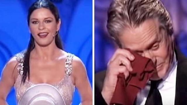 Michael Douglas can't keep back tears watching Catherine's surprise performance for him on stage