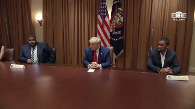 President Trump participates in a roundtable discussion