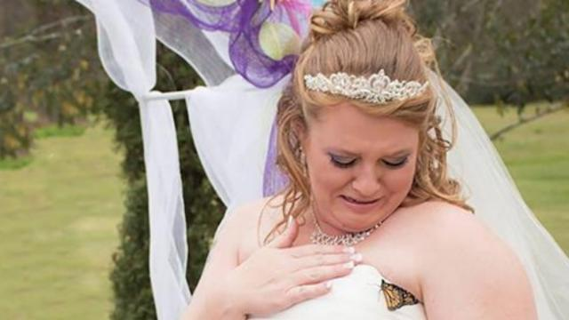"A butterfly lands on her wedding dress – she burst into tears at the ""message"" it brought"