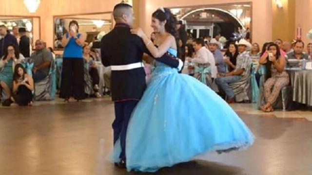 Marine slow dances with daughter on her birthday only to have eyes pop with their skill when music c
