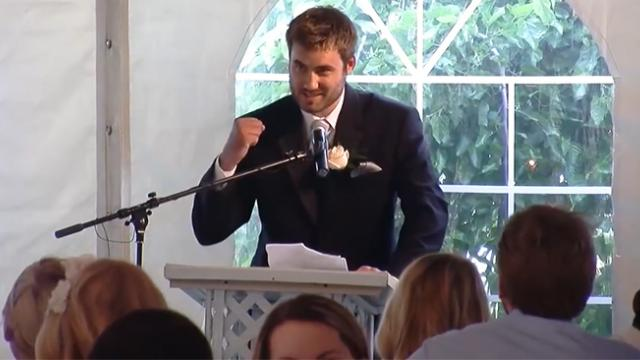 Best man's epic speech at his brother's wedding has guests rolling with laughter.