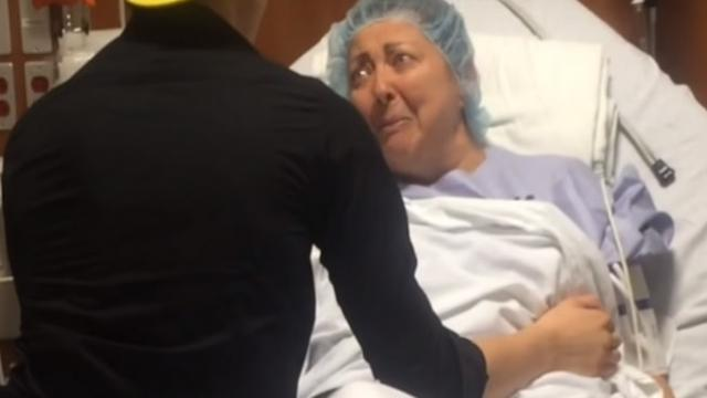 Nervous mom is heading into surgery when son from 5,000 miles away secretly arrives to be with her