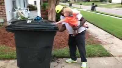 Mom Hits Record When She Spots Garbageman Picking Up Her Kid. Then She Posts It Online