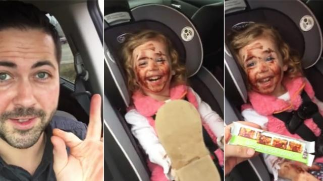 You might want to reconsider the next time you have an idea of giving a toddler a chocolate bar