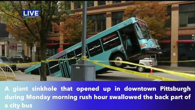 Giant sinkhole swallows part of bus during rush hour in downtown Pittsburgh!