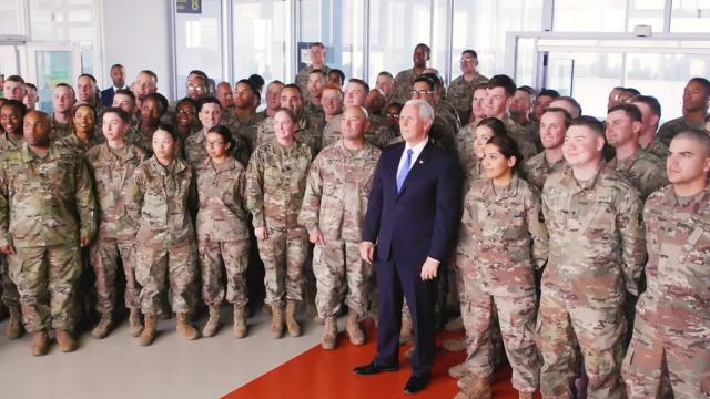 Vice President Pence meets with military members in Ireland