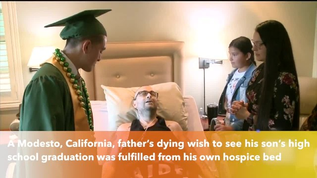 California father with cancer gets dying wish to watch son graduate from hospice bed