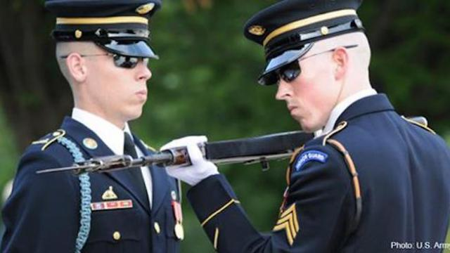 Tomb of the Unknowns guard gets stabbed. Watch his reaction