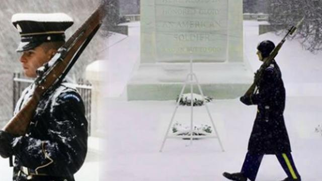 As 75 percent of US is frozen, the guards at the Tomb of the Unknowns aren't fazed