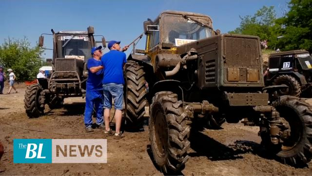 Russian farmers participate in high-speed tractor race