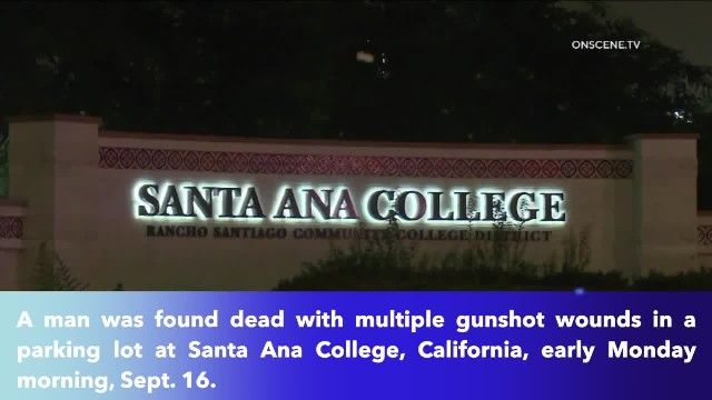Man found dead with multiple gunshot wounds in parking lot at Santa Ana College, California; suspect