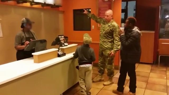 Soldier about to pay for his meal takes action when he notices two boys shivering nearby