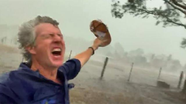 Australian farmer celebrates heavy rain on his drought-stricken property