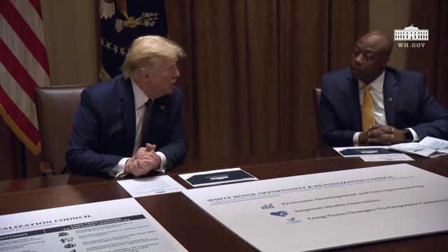 President Trump participates in a White House opportunity and revitalization council meeting