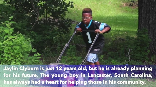 12-year-old boy in Lancaster, South Carolina, is cutting grass so he can pay for college