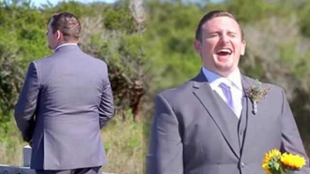 Groom waits to see bride for first look, turns around and she's not wearing a wedding dress