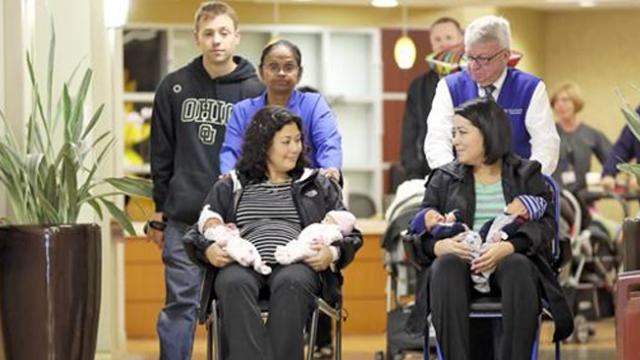 Sisters both give birth to twins on the same day only to have