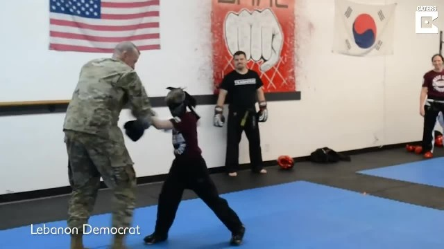 Blindfolded Boy Unknowingly Spars With His Deployed Dad During Taekwondo Lesson