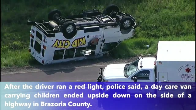 Day care van carrying 9 children flips upside down in Texas