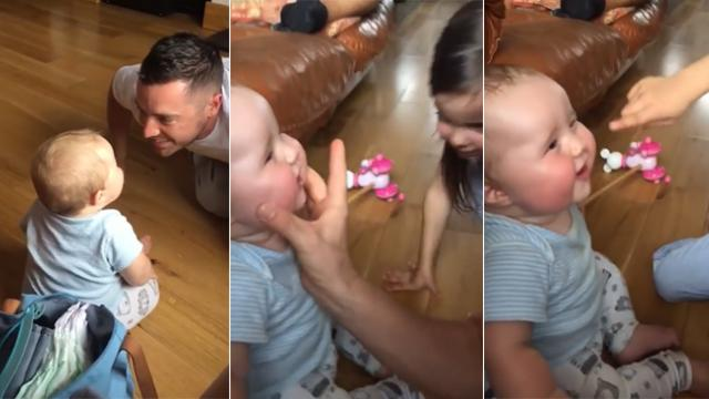 Daddy makes baby giggle but loses it moments later when he sounds like a sheep