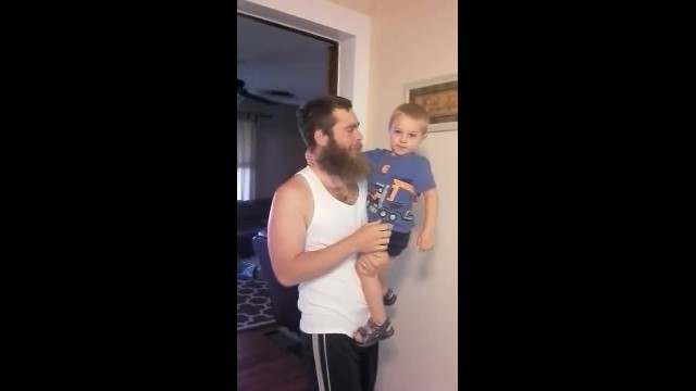 Dad says he's going to shave - now, watch how his son reacts to his new look