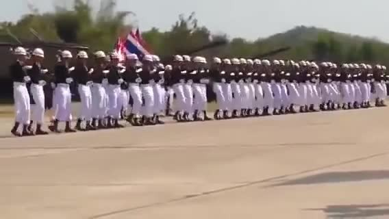 Soldiers form a perfect line, but then it looks like they start to fall over