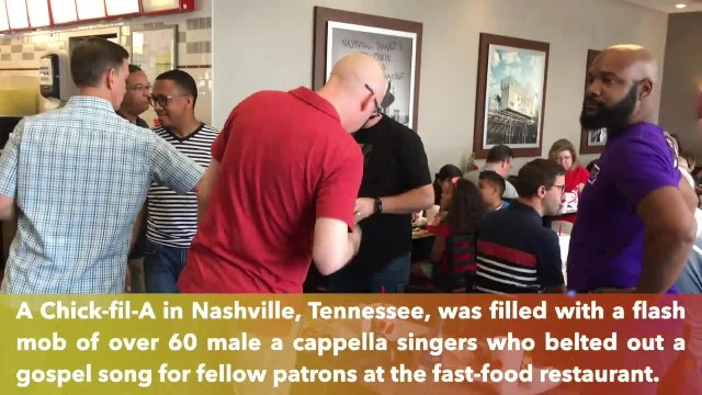 Christian flash mob of over 60 a cappella singers fills Chick-fil-A with gospel music