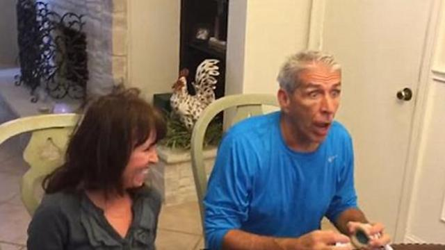 Lip reading game captures grandfather's priceless reaction to pregnancy announcement