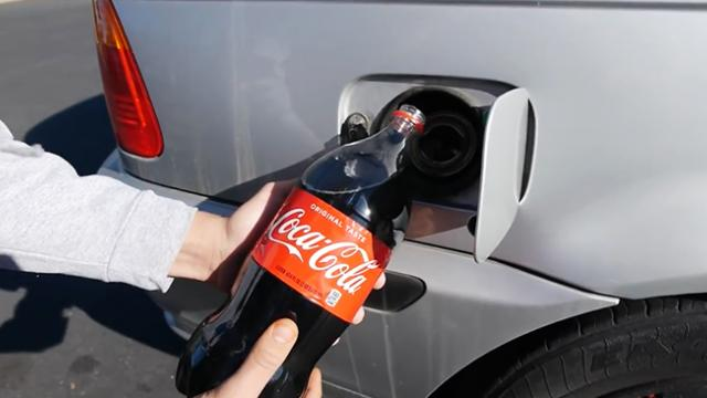 Here's what happens when you pour coke into your gas tank
